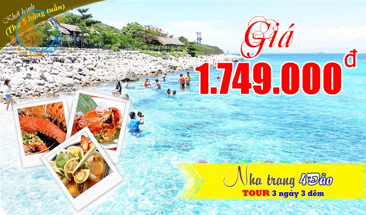 Tour du lịch Nha Trang 4 đảo - Tiệc hải sản 3 ngày 3 đêm