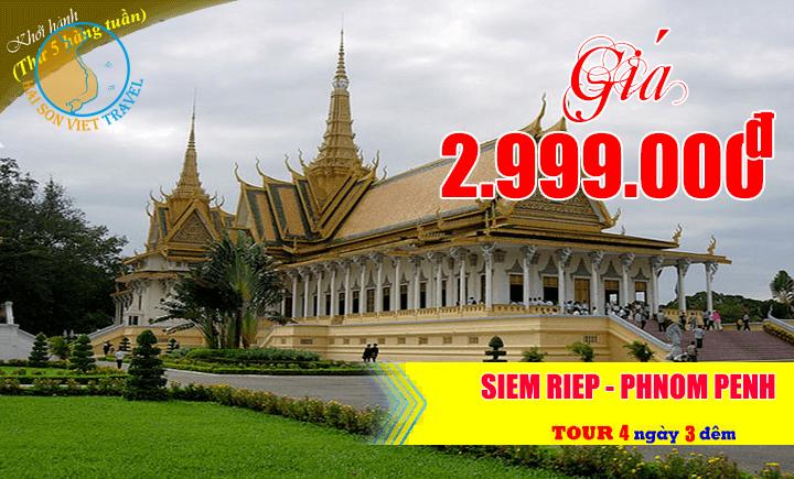 Tour Campuchia (Siêm Riệp - Phnom Pênh) 4 ngày 3 đêm